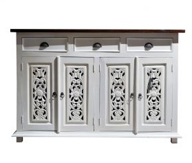 Consola din lemn, imbracata in piele  Solid wood sideboard with 4 doors and 3 drawers