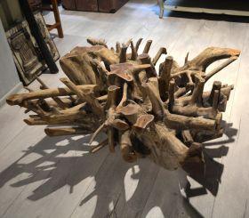 Taburet - Masuta RAJANI din lemn si fier  Masuta din lemn masiv