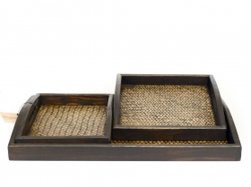 Decoratiuni & Cadouri Set of 3 wooden trays RATANA