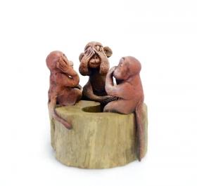 Decoratiuni Casa Thai wooden statuette - 3 Monkeys