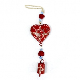 Clopot Vintage Auriu  Red Heart With Bell