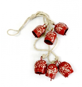 Clopot Vintage Auriu  6 Paint Bells Bead - Red