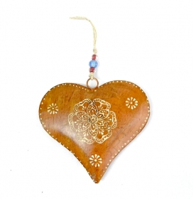 Clopot Vintage Auriu  Orange Heart Decoration