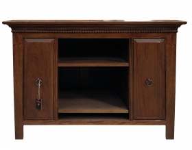 Consola din lemn, imbracata in piele  Solid wood TV cabinet with 2 drawers