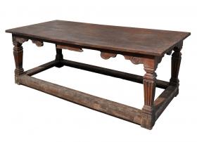 Masa dining din lemn masiv Monobloc 199 cm Masa SUMANA sculptata veche, UNICAT