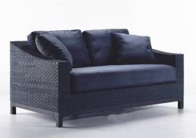 Canapea din piele si catifea, 2 locuri MAGGIE