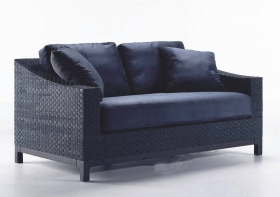 Canapele si Coltare Canapea din piele si catifea, 2 locuri MAGGIE