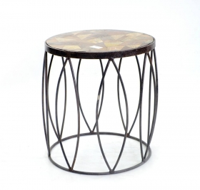 Mobilier RAJANI  wood  and iron Stool-Table