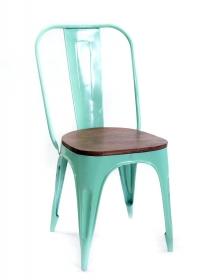 Scaun pliabil din piele BARRU Scaun Industrial Turquoise din metal si lemn
