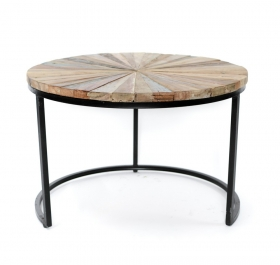 Masute Cafea teak TASYA-A  wood and metal Table